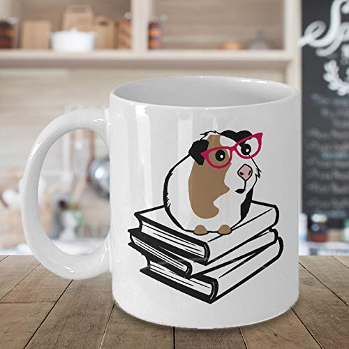 Mug Guinea Pig Book Lover Gift Cute Nerd with Galsses Guinea Pig Coffee Mug -