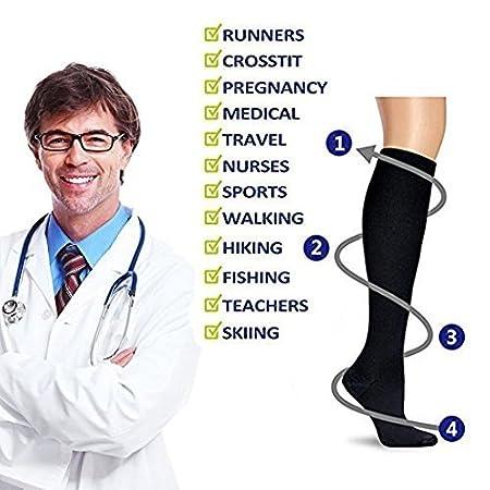 gravidanza viaggi in aereo Calze a compressione per uomini e donne altezza sotto il ginocchio sport atletici maternit/à per infermieri crossfit ideali per corsa periostite