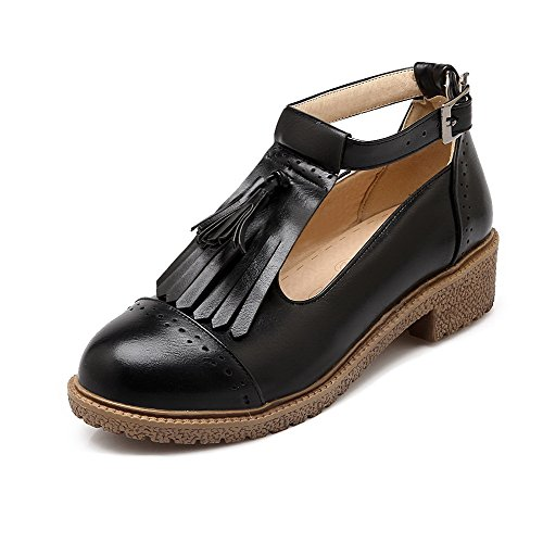 Soft Closed Women's VogueZone009 Low Pumps Black Material Shoes Heels Toe Round Buckle Solid wCBfq5B