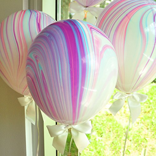 (Unicorn Party Supplies. Unicorn Balloons. Marble Balloons with White Bows + Curling Ribbon. 8CT.)