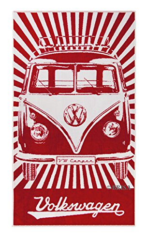 VW Collection by BRISA VW T1 Camper Bus Beach Towel Red