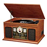 Innovative Technology ITVS-200 Nostalgic Classic 5-In-1 Turntable Wooden Entertainment Center, Mahogany