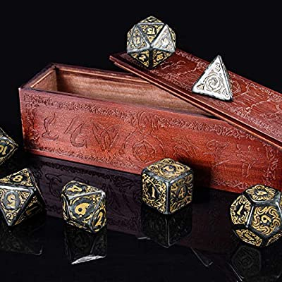 Titan Dice: Nyx | 25mm Giant Polyhedral Dice 7-Piece Set & Engraved Wooden Display Box | Smoke Color with Gold Numbers | Tabletop Roleplaying Fantasy RPG Gaming Novelty Accessories: Toys & Games