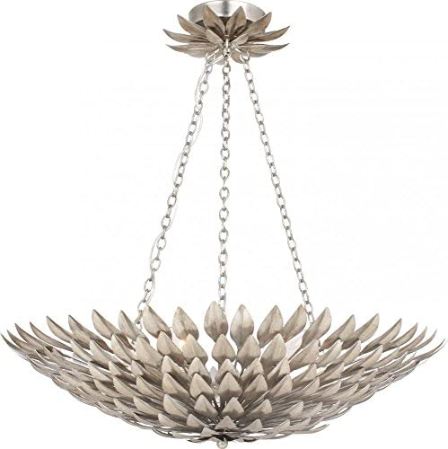 Crystorama 517-SA Transitional Six Light Pendant Chandelier from Broche collection in Pwt, Nckl, B S, Slvr.finish,