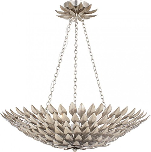 Lighting Heart Transitional Chandelier (Crystorama 517-SA Transitional Six Light Pendant Chandelier from Broche collection in Pwt, Nckl, B/S, Slvr.finish,)
