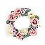 FAVOWREATH 2018 Romance Series FAVO-W10 Handmade 12 inch Red Roses Purple Tea Buds Multi Flowers Fall Grapevine Wreath For Spring/Summer Celebration Front Door/Wall/Dining Table Floral Home Decor
