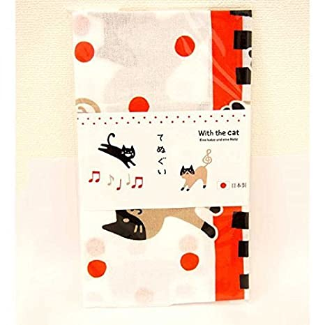 Sanpo-michi Gatos del pañuelo del Gato Piano Toallas de Mano Tenugui Rojo Hecho en Japón: Amazon.es: Hogar
