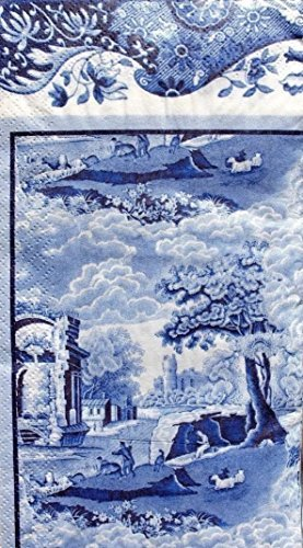 Spode Blue Italian Guest Dinner Napkins 16 count 3-Ply Paper - Napkins Guest Blue