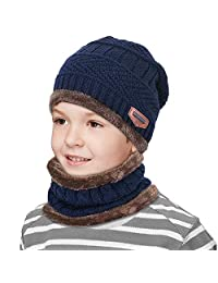 Kids Winter Snow Knitted Beanie Hat Circle Scarf Set Slouchy Warm Outdoor Sports Hat Sets (Navy blue)