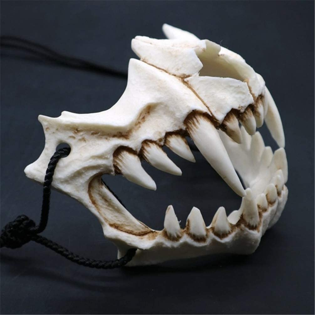 EqWong Maske Resin Halbmaske,Halloween Cosplay Resin Mask Die japanische Drachengott Maske Animal Theme Party Animal Skeleton Halbmaske Karneval f/ür Kinder Frauen M/änner