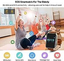 Smartwatch para el Anciano SOS Impermeable GPS Reloj Inteligente con rastreador de Salud Monitor de Ritmo cardíaco Medicinal teléfono Alarma Hacer ...