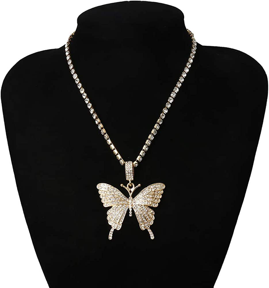 Musitelying Women Temperament Necklace Rhinestone Inlaid Butterfly Simple and versatile Pendant Chain Necklace Party Jewelry for Dating Holiday Party Girlfriend Exquisite Gift