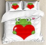 Ambesonne Love Duvet Cover Set Queen Size, Cartoon Frog Holding Giant Heart Valentine's Theme Funny Character Illustration, Decorative 3 Piece Bedding Set with 2 Pillow Shams, Green Red Pink,