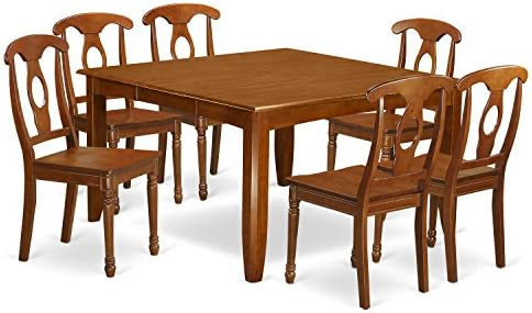 PFNA7-SBR-W 7 PC Dining room set-Dinette Table with Leaf and 6 Kitchen Chairs.