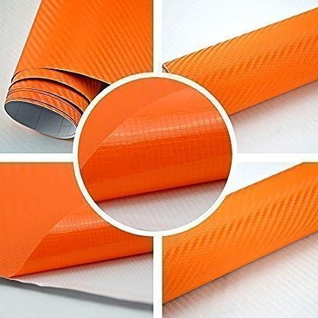 TipTopCarbon 6,57/€//m/² 3D Carbon Folie orange BLASENFREI 7m x 1,52m mit Luftkan/äle Autofolie selbstklebend