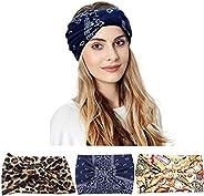 K-Elewon 3 Pack Women Wide Elastic Head Wrap Headband Sports yoga Hair Band