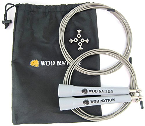 WOD Nation Speed Jump Rope - Blazing Fast Rope for Endurance training for Sports like Cross Fitness, Boxing, MMA, Martial Arts or Just Staying Fit - Fully Adjustable to Fit Men, Women and Children - GREY -