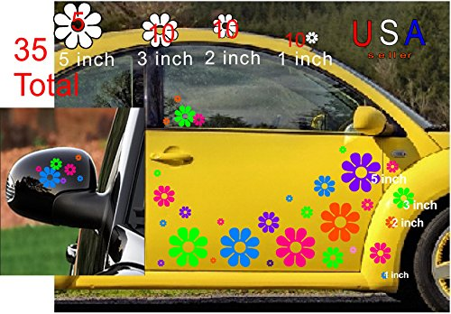 (Deansigns4u 35 Car Flowers Set Bright Tropical Colors Decal Sticker Golf Cart Boat USA)