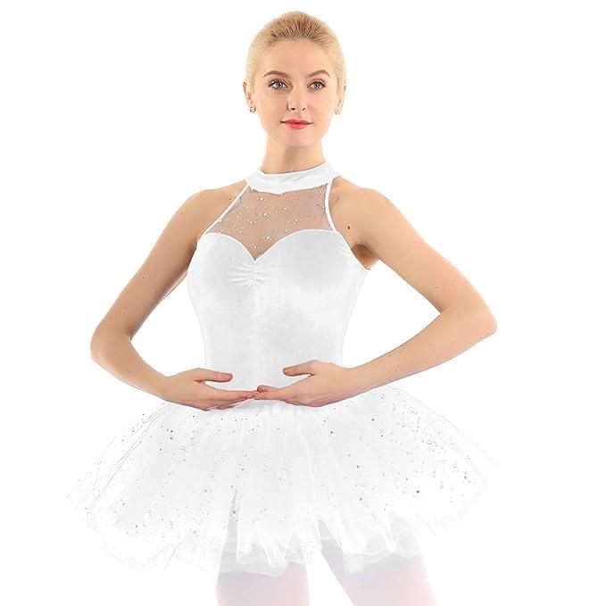 inhzoy Vestido Elegante de Danza Lentejuelas para Mujer Maillot ...