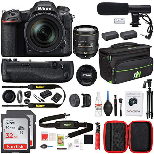 Nikon D500 20.9 MP CMOS DSLR Camera with 16-80mm VR Lens Kit, Multi-Battery Power Pack and Battery Grip, 32GB Memory Card, Large Camera Backpack, 58-inch Tripod, Cleaning Kit, and Photo Editing Suite