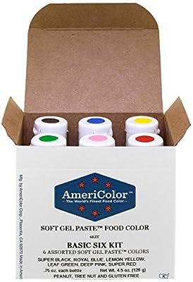 AmeriColor Basic Six Kit Soft Gel Paste Food Color, 0.75 Ounce, 6 Pack Kit