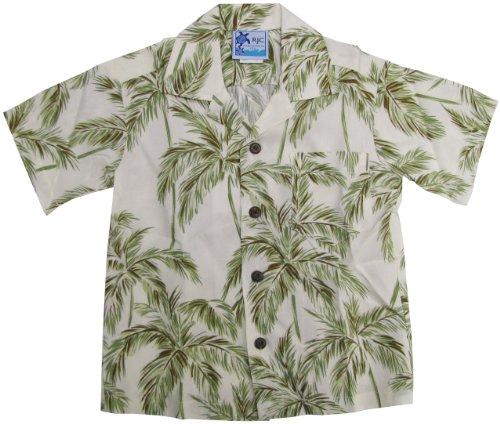 - RJC Boys Size 2 to 18 Palm Trees Rayon Shirt Beige 14