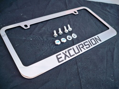 Ford Excursion Chrome Metal License Plate Frame with Screw Caps - Excursion License Plate
