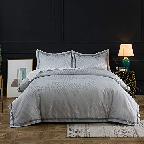 - Simple&Opulence Yarn Dyed Bamboo Poly Silk Cotton Jacquard Bedding Silver Duvet Cover Set (King)