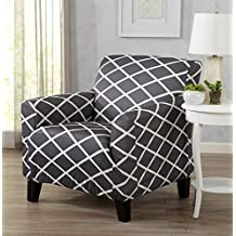 Strapless Stretch Printed Slipcover Chair Cover, Stain and Spill Resistant. Tori Collection by Great Bay Home (Chair - Grey)