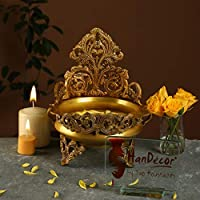 Handecor Ethnic Design Decorative Brass Urli Traditional Bowl Showpiece | Home Decor |