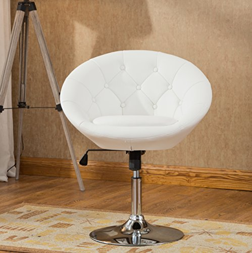 (Roundhill Furniture PC165W Noas Contemporary Round Tufted Back Tilt Swivel Accent Chair, White)