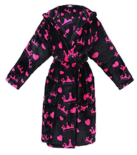 BURKLETT Womens Robe Luxurious Hooded Flannel Fleece Short Bath Robe with Side Pockets (Pink Crowns - Black) (Hooded Robe Short)