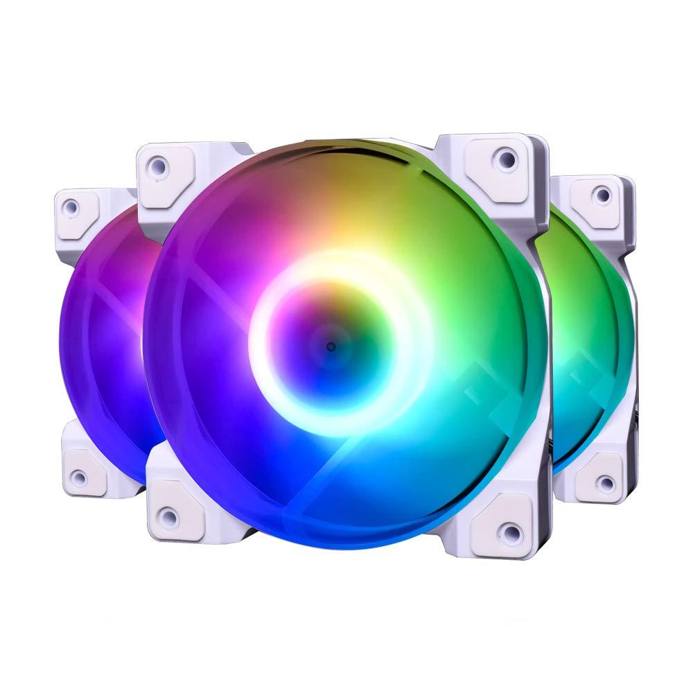 ID-COOLING DF-12025-ARGB Trio Snow Case Fan CPU Cooling Fan Addressable RGB Case Fan 5V ARGB MB Aura Sync PWM Fan for CPU Cooler/Raidator/PC Chassis (Remote Control Included)