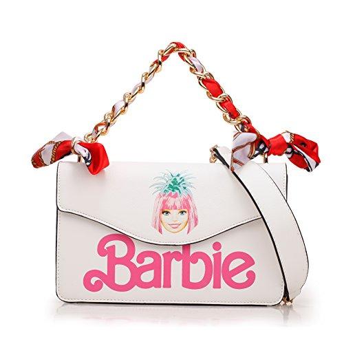 Barbie Bolso bandolera y baguette elegante de estilo chicas bolso casual con marca chica para mujer BBFB557 22x14x7CM balnco