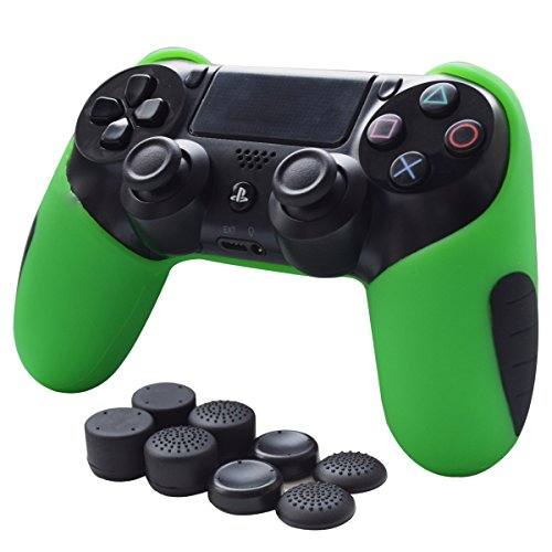 Skin Compatible for PS4 Controller Grips Pandaren Soft Silicone Thicker Half Cover for PS4 /SLIM /PRO Controller (Green skin X 1 + FPS Pro Thumb Grip X 8)