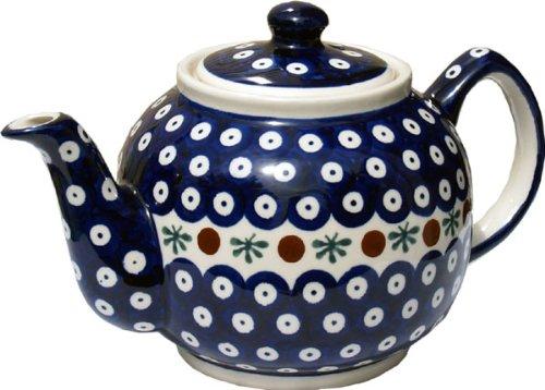 "Polish Pottery Teapot From Zaklady Ceramiczne Boleslawiec #596-41 Nature Pattern, Height: 5.6"" Capacity: 0.9 Qt."