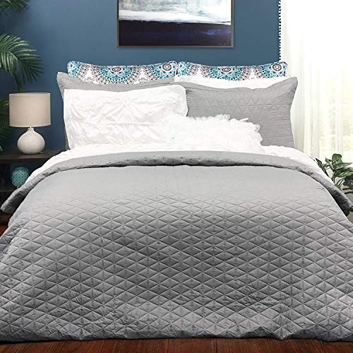 DriftAway Victoria 3 Pieces Bedding Quilted Duvet Cover, Stitched Pattern, 1 Quilted Duvet Cover, 2 Pillow Shams, Gray (Full/Queen)