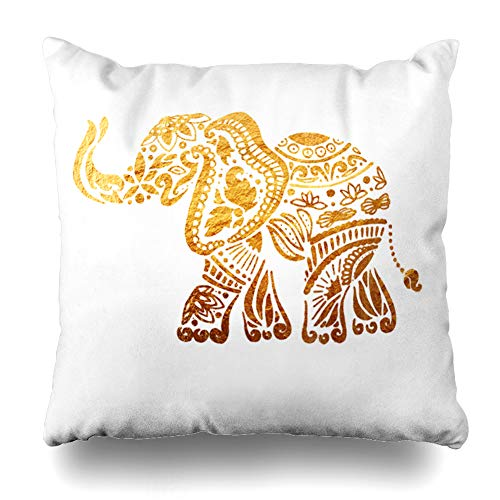 Ahawoso Decorative Throw Pillow Cover Safari Africa Elephant Ornamental Golden Pattern Can Modern Abstract African Arabic Asian Big Home Decor Pillowcase Square Size 20