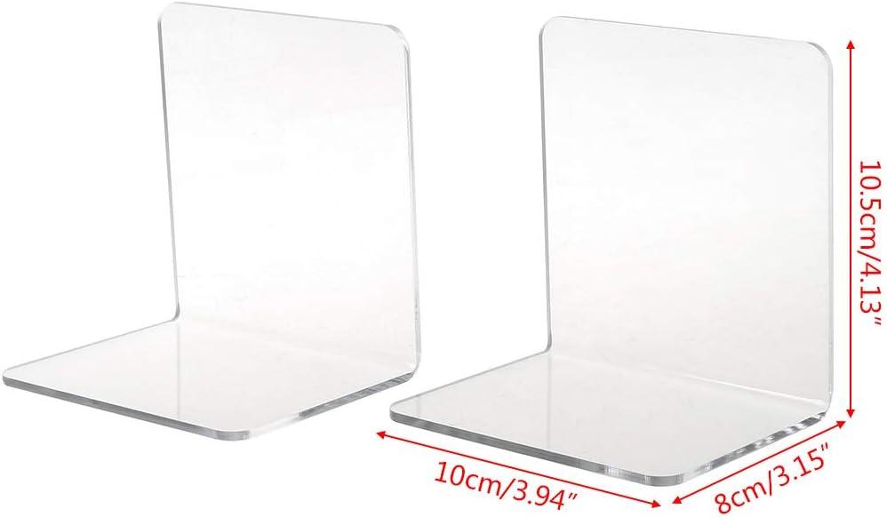 Huiouer art/ículos de papeler/ía para la escuela organizador de escritorio soporte para libros 2 sujetalibros de acr/ílico blanco en forma de L para escritorio accesorios de oficina Medium
