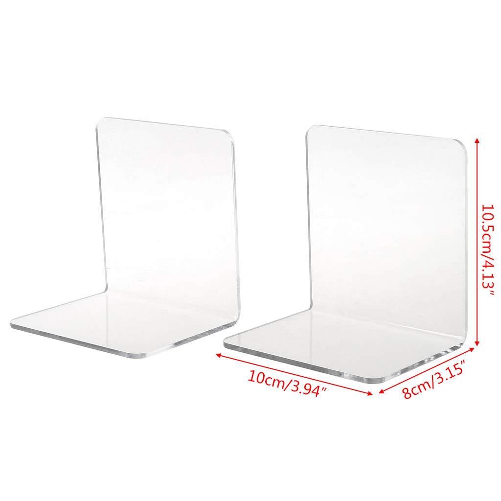 Meiqqm Lot de 2 serre-livres en acrylique transparent en forme de L
