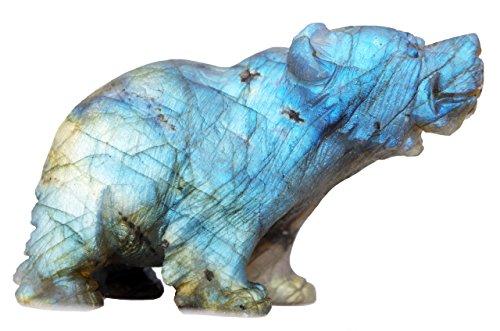 NATURSTON Wildlife Animal Carving Bears Figurine Natural Labradorite Gemstone