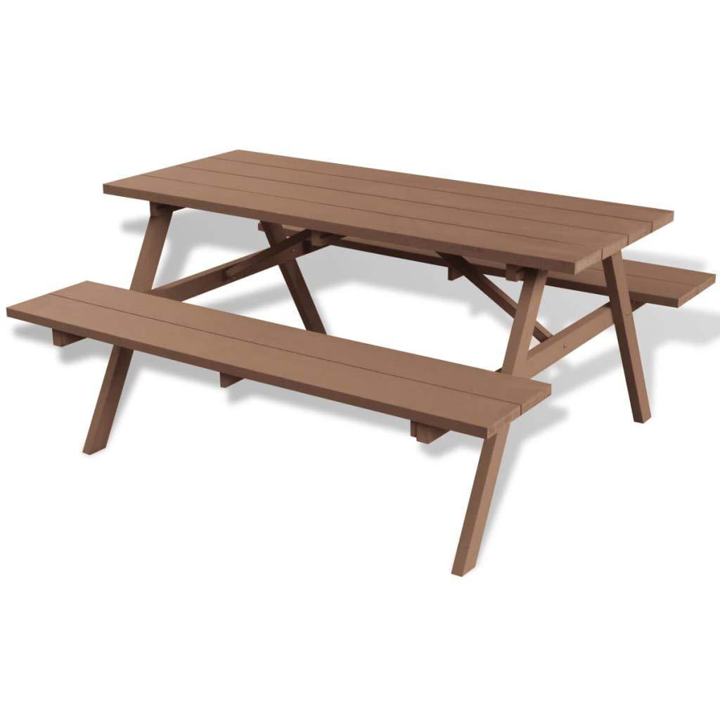 Festnight- WPC Picknicktisch mit Bänken Gartentisch Garnitur Tisch mit 2 Sitzbänken Sitzgruppe150x139x72,5 cm Braun