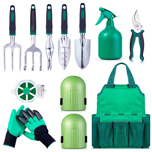 (Garden Tool Set Gardening Bag Accessories 12 Pieces Kit/Home & Gardening Kneeler Pad/Stainless Steel Hand Digging Tools Pruner, Shovel, Fork, Rake, Shears, Weeder, Gloves, Water Sprayer, Plant)