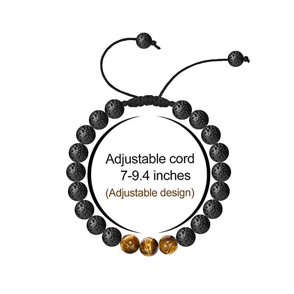 Tiger Eye Mens Bracelet Gifts – 8mm Tiger Eye Lava Rock Stone Mens Anxiety Bracelets, Stress Relief Adjustable Tiger Eye Bracelet Aromatherapy Essential Oil Diffuser Lava Bracelet Gifts for Men