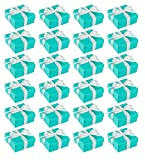 Blue Panda Wedding Gift Boxes - 24-Pack Candy Favor Boxes, Small Gift Box Perfect for Wedding Favors, Anniversaries and Engagement Parties – Turquoise, 3.74 x 3.74 x 1.65 Inches