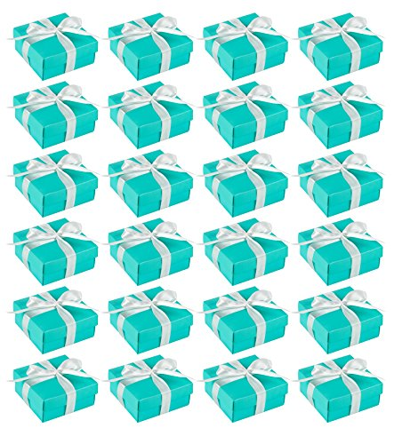 Wedding Gift Boxes - 24 Pack Candy Favor Boxes, DIY Assembly Small Treat Boxes, Perfect for Guest Favors, Anniversary, Proposal and Engagement Party, Turquoise, 3.7 x 3.7 x 1.6 Inches]()