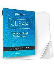 ENVOCOLOR Premium Clear Satin Sticker Paper Printable Vinyl for Inkjet Printer - 21 Waterproof Clear Sheets - Permanent Adhesive - Printable Cricut Sticker Paper - Print and Cut Transparent Vinyl