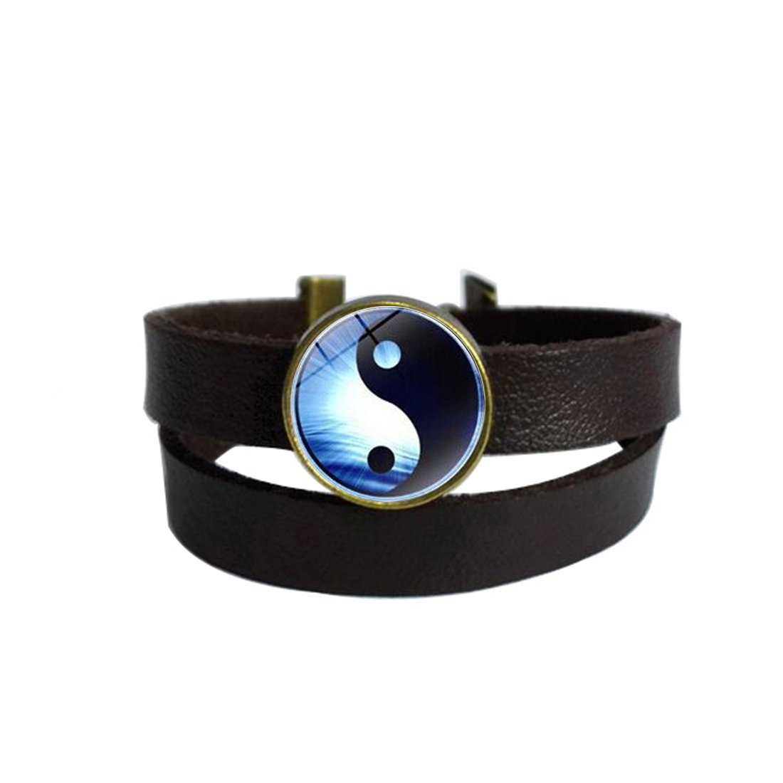 LooPoP Vintage Punk Dark Brown Leather Bracelet Yin Yang Tai Chi Belt Wrap Cuff Bangle Adjustable
