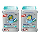 all Powercore Pacs Laundry Detergent Plus Removes Tough Odors, Tub, 50 Count (Pack of 2)
