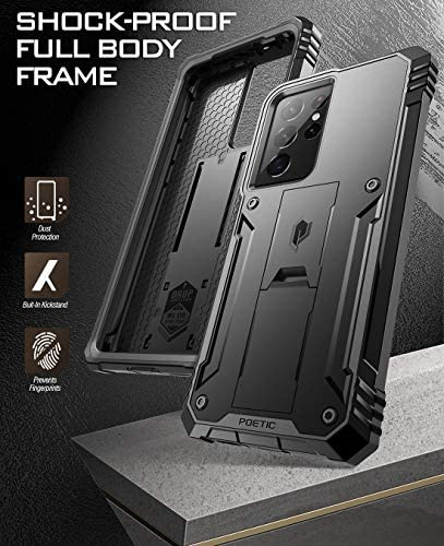Poetic Revolution Case for Samsung Galaxy S21 Ultra 5G 6.8 inch, Built-in Screen Protector Work with Fingerprint ID, Full Body Rugged Shockproof Protective Cover Case with Kickstand, Black